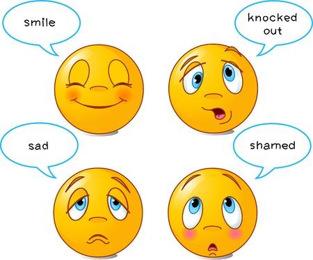 knocked out: Juego de cuatro caras sonrientes en diferentes expresiones faciales, con burbujas de discurso