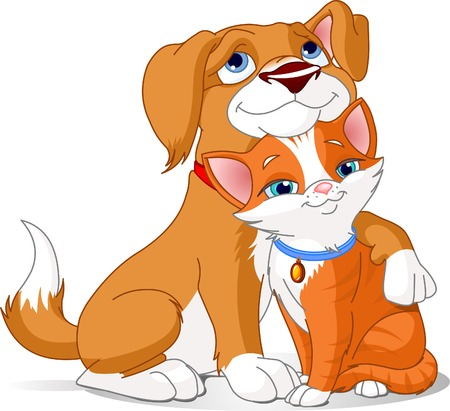 pareja abrazada: Gran ilustraci�n de un perro Cute abrazando un gato Vectores