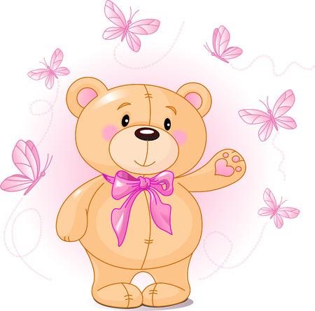 teddy bear vector: Very cute Teddy Bear waiving hello Illustration