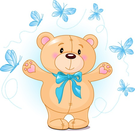 waiving: Very cute Teddy Bear waiving hello Illustration