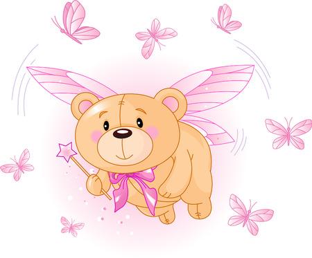 마법의 지팡이로 비행 아주 귀여운 테디 베어