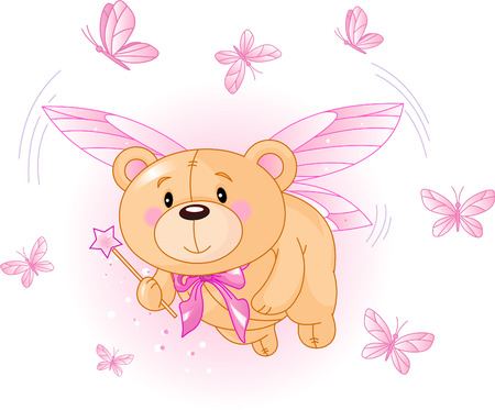 Very cute Teddy Bear with Magic wand flying Vector