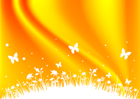 grasses: An orange field background with flowers, butterflies and grasses Illustration