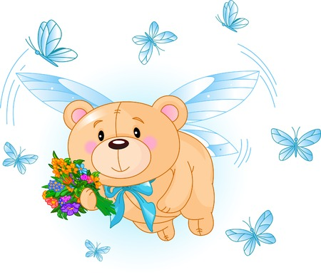 Very cute Teddy Bear with flowers flying Stock Illustratie