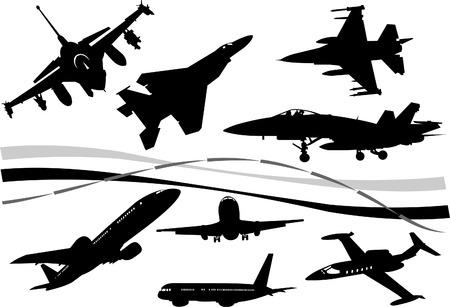 Black and white Airplane silhouettes. One click color changed