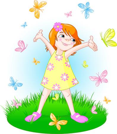 여름 초원에 서있는 귀여운 소녀