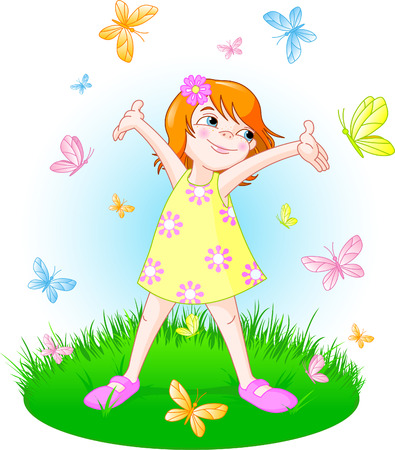 butterfly vector: Cute little girl standing on the summer meadow