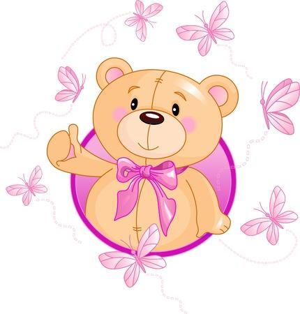 Very cute Teddy Bear waiving hello Vectores