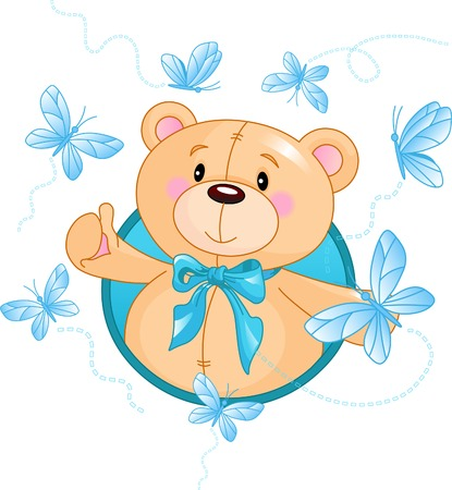 Very cute Teddy Bear afzien hello Stock Illustratie