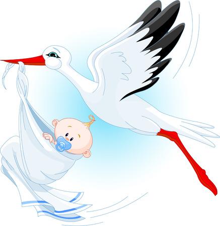cigue�a: Una ilustraci�n vectorial de dibujos animados de una cig�e�a entrega de un beb� reci�n nacido