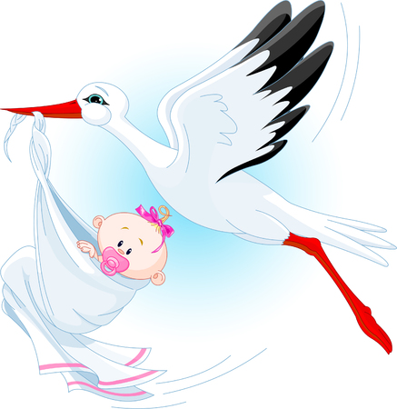 A cartoon vector illustration of a stork delivering a newborn baby girl