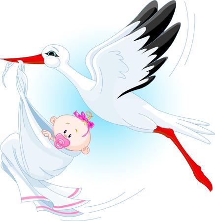 Una caricatura ilustraci�n vectorial de una cig�e�a entrega de un beb� reci�n nacido ni�a Foto de archivo - 5036377