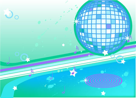 glittery: Music background with disco ball Illustration