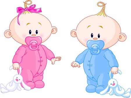twin: Twin Baby Boy y Girl With chupones y juguetes Vectores
