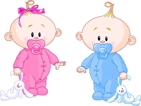 Twin Baby jongen en meisje met fop spenen en speel goed
