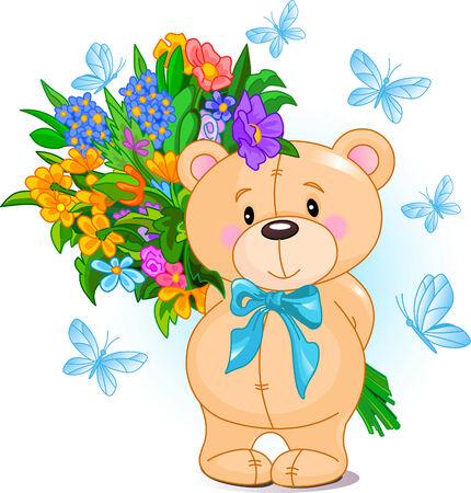 teddy bear vector: Cute little Teddy bear holding a bouquet Illustration