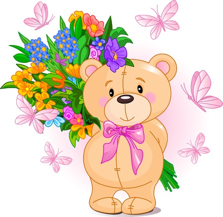 Cute little Teddy bear holding a bouquet Çizim