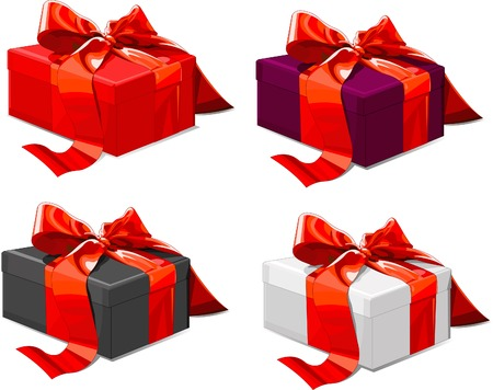 Four different color Gift boxes with  red bow