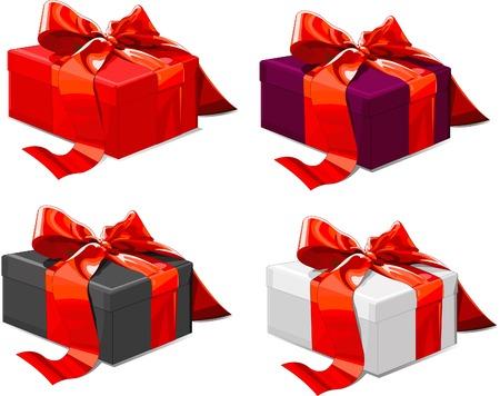 Quattro scatole regalo di diverso colore con fiocco rosso Archivio Fotografico - 5081098