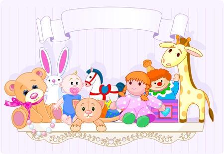 Plank vol baby speelgoed met plaats voor kopiëren ext Stock Illustratie