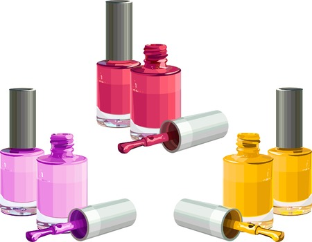 cosmetic lacquer: Bottles of  nail polish, isolated on white background. Vector Illustration