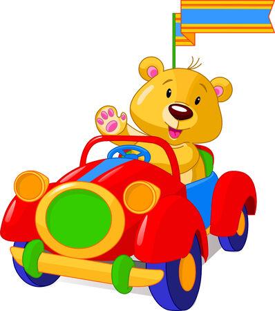 레드 장난감 자동차에서 테 디 베어입니다. 벡터 일러스트