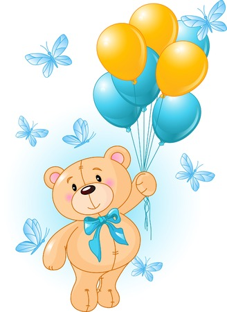 teddy bear cartoon: Boy Teddy Bear Hanging from a Balloons