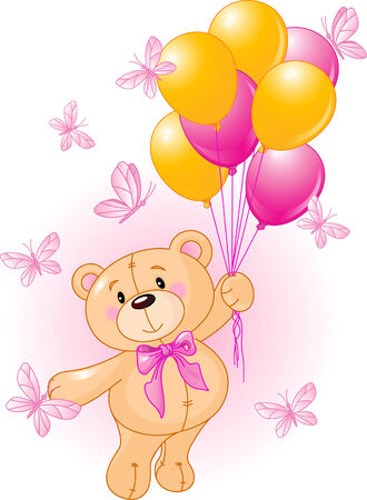 teddy bear cartoon: Girl Teddy Bear Hanging from a Balloons Illustration