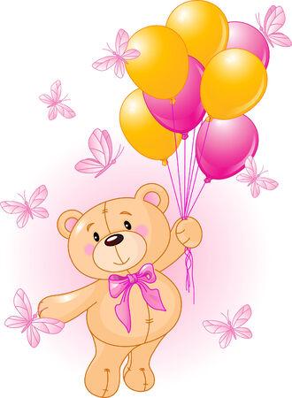Meisje Teddy Bear Opknoping uit een Luchtballons
