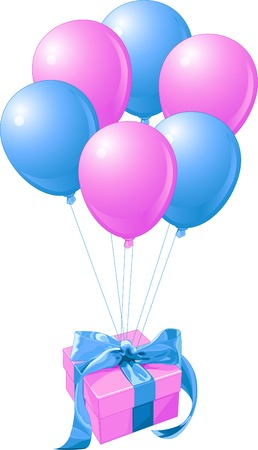 Gift with the bunch of balloons Vector