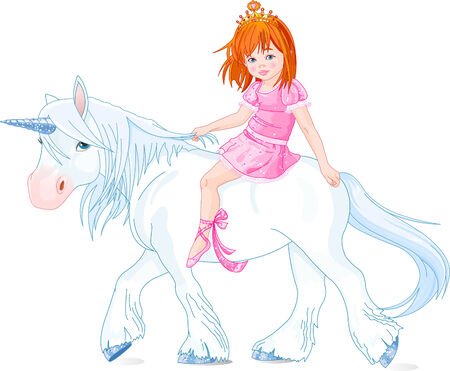 Cute little princess riding on a unicorn Vector