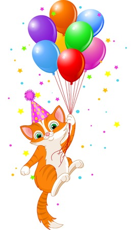 Cute Kitten with Party Hat Hanging from a Balloons Ilustração