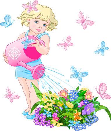 watering: Vector illustratie van een schattig klein meisje bloemen gieter