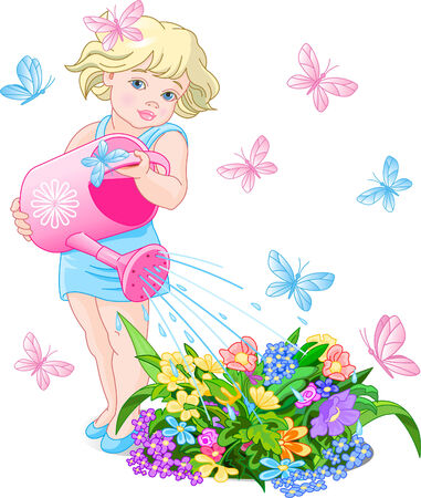 Vector illustration of a cute little girl watering flowers