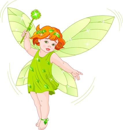 Vector illustration of a summer fairy in flight Ilustração