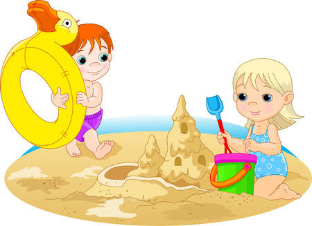 Little girl building a sand castle and the boy going with rubber ring