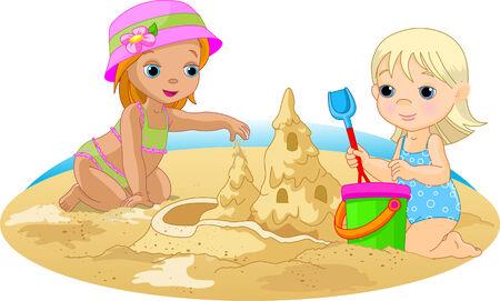 piasek: Dwa Małe dziewczynki budowę zamku piasku na plaży Ilustracja