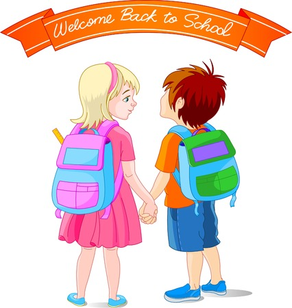 Vector illustration of girl and boy go to school