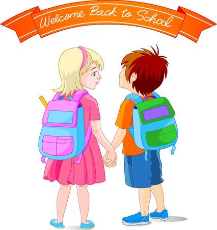 cartoon school girl: Vector illustration of girl and boy go to school
