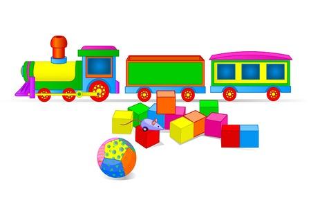Vector illustration of Toy train and building blocks Иллюстрация