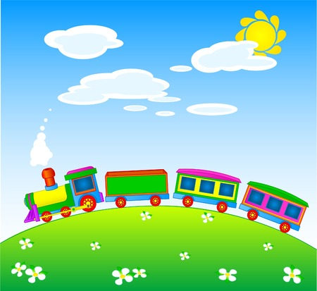 Toy train riding over a hilly landscape Vector