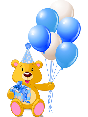 Teddy Bear sitting with blue gift box and balloons Vector