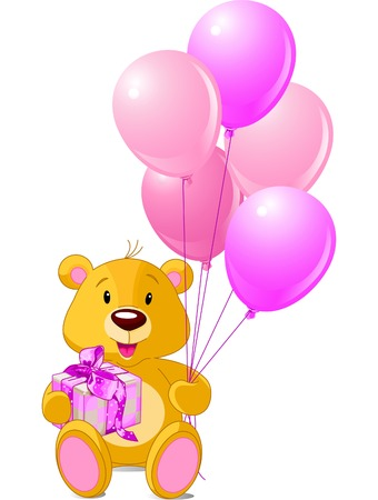 Teddy Bear sitting with gift box and pink balloons Vector