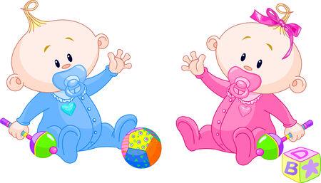 gemelas: Twin Baby Boy y Girl jugando con sonajeros Vectores