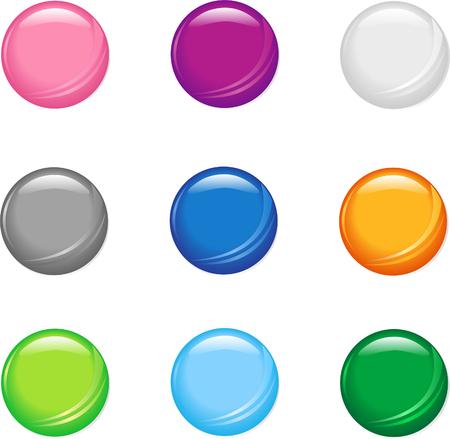 A set of nine simple shiny buttons. Ilustração