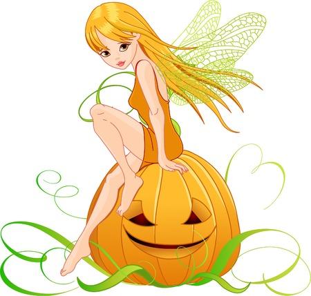Vector afbeelding van pumpkin engel vergadering over pompoen