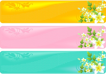 A set of three floral different colored banners