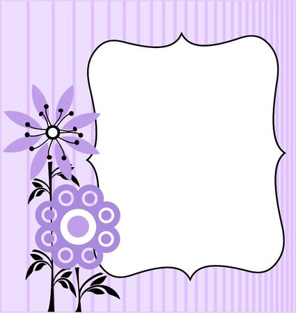Violet background with  flowers. Space for copytext.