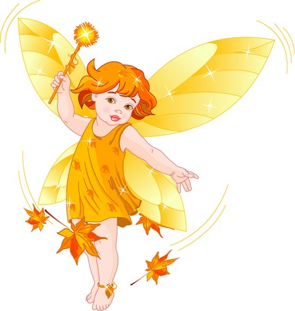 Vector illustration of a Autumn  baby fairy in flight