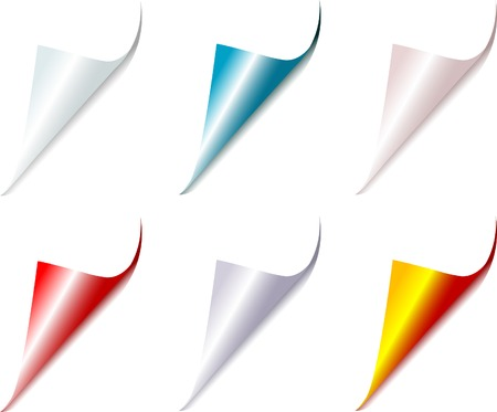 bent: Set of bent different colors page corners  Illustration